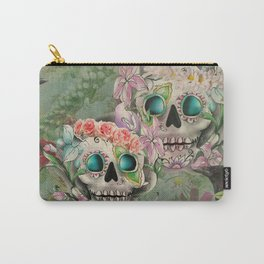 Victorian Floral Sugar Skulls Carry-All Pouch