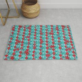 Retro Snowflakes in Red Rug