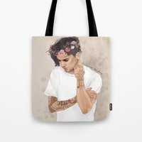 coconutwishes Tote Bags featuring Zayn Floral Crown by Coconut Wishes