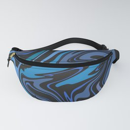 BYTHEWAY turquoise blue black abstract paths design Fanny Pack