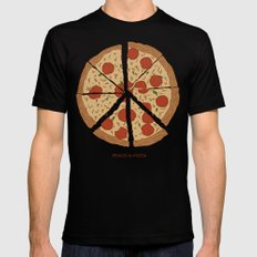 PEACE-A-PIZZA Mens Fitted Tee Black MEDIUM
