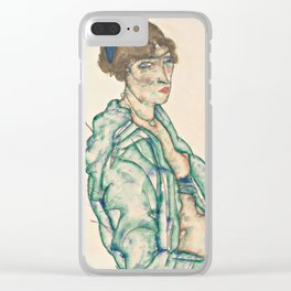 """Egon Schiele """"Sitting Semi-Nude with Blue Hairband"""" Clear iPhone Case"""