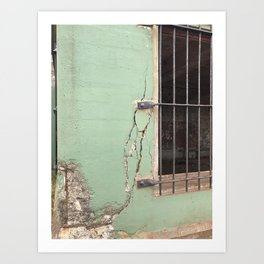 Cracked concrete wall at Battery Mendell on Fort Barry Art Print