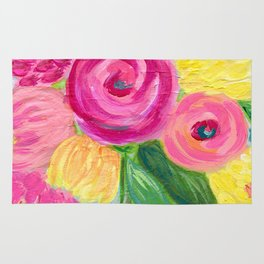Bouquet of Flowers, Pink and Yellow Flowers, Painting Flowers in Vase Rug