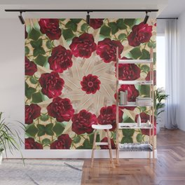 Old Red Rose Kaleidoscope 13 Wall Mural