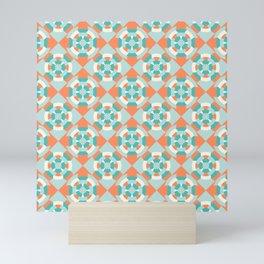 Simple geometric boat helm in mint and orange Mini Art Print