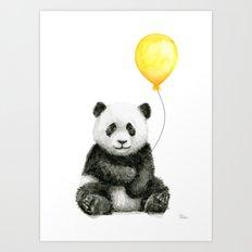 Panda Watercolor Animal with Yellow Balloon Nursery Baby Animals Art Print