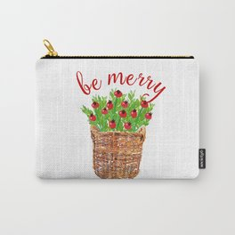 Be Merry Red Berries in Christmas Basket Carry-All Pouch