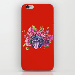 Dog smiles in peonies on red iPhone Skin