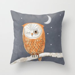Winking Owl by the Light of the Moon Throw Pillow