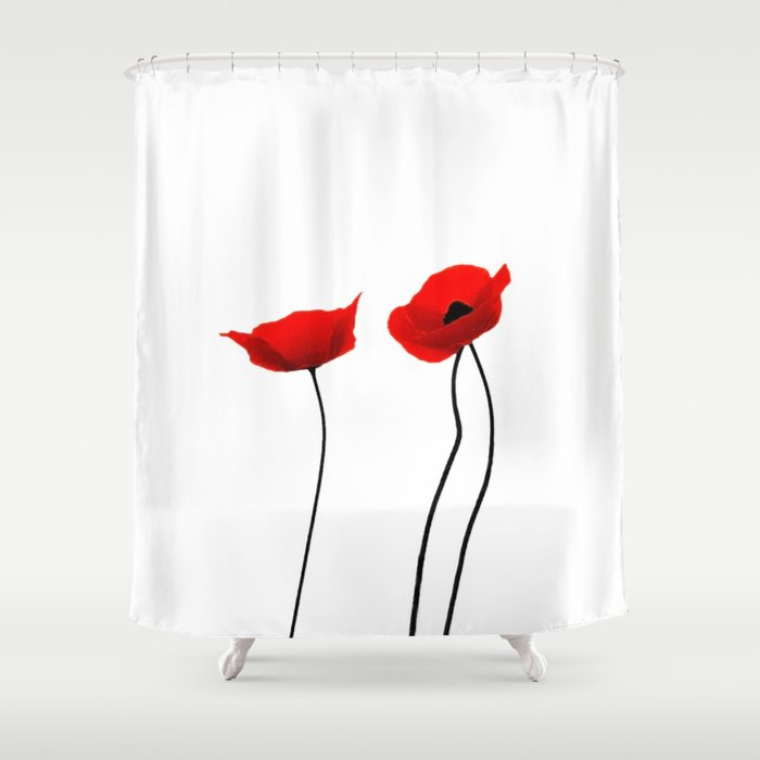 Simply Poppies Shower Curtain By Mariannehope