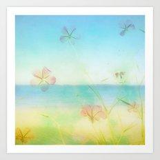 Dreamy Summer Beach Flowers Art Print