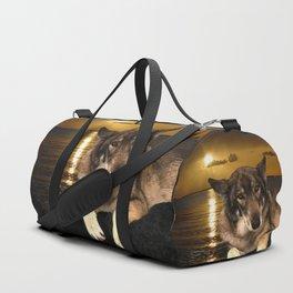 Dog German Shepherd and Sunset Duffle Bag
