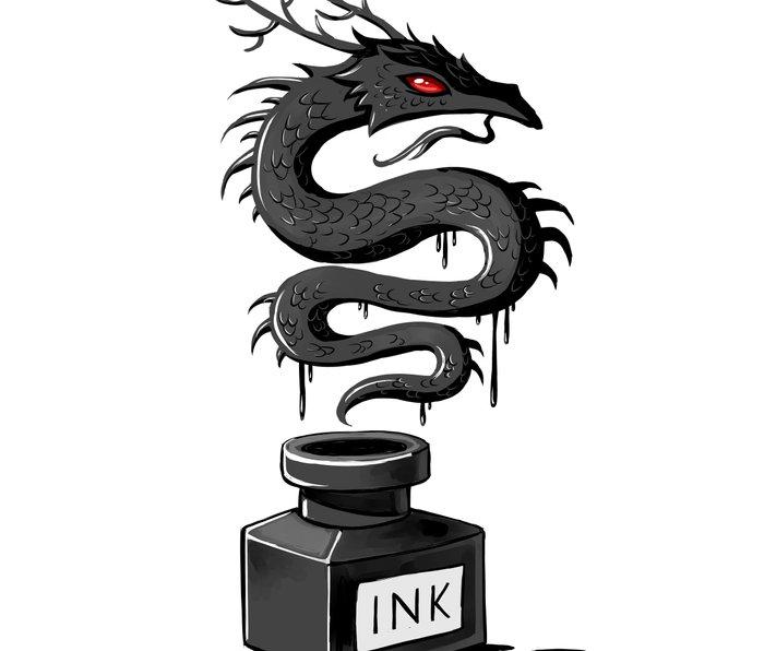 Ink Dragon Metal Travel Mug