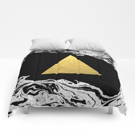 Davina - triangle modern minimal marble black and white foil gold abstract painting trendy bklyn  Comforters