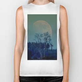 Concept landscape : Moon behind the tree Biker Tank