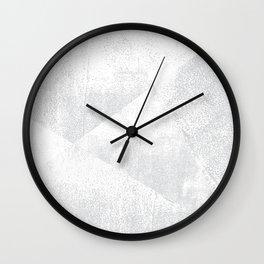 White and Gray Lino Print Texture Geometric Wall Clock