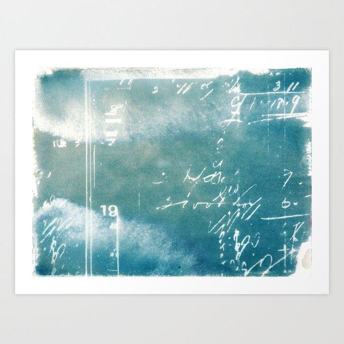 Blue Vintage Writing Cyanatope Print Art Print