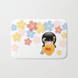 Japanese Summer Kokeshi Doll Bath Mat