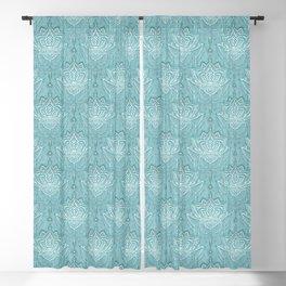Art Nouveau Beaded Chandelier Doodle with Faux Linen Texture in Soft Teal Blue Blackout Curtain
