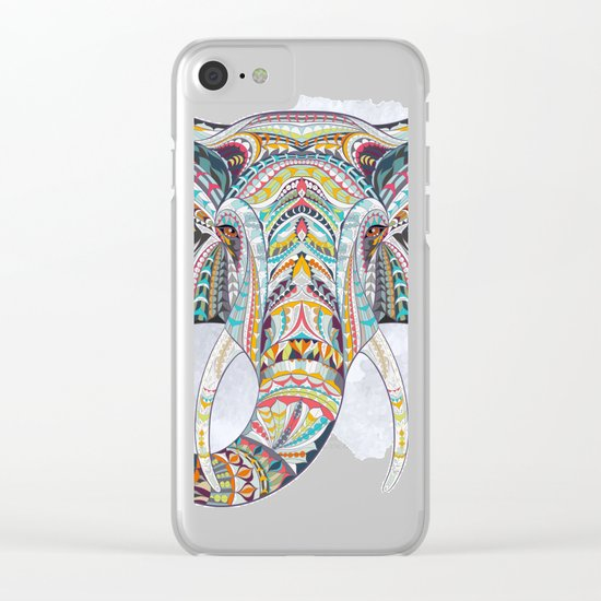 Colorful Ethnic Elephant Clear iPhone Case