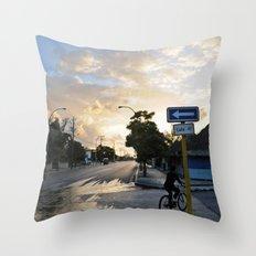 Biking the Streets of Varadero Throw Pillow