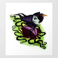 maleficent Art Prints featuring Maleficent by Katie Simpson a.k.a. Redhead-K