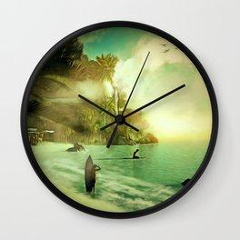 GOLDEN DAYS 70s Hippy Surfer Summer Beach Scene Wall Clock
