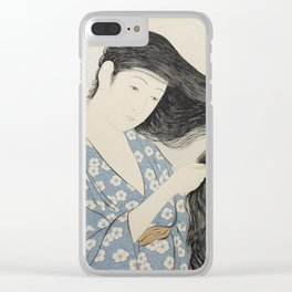 Hashiguchi Goyo: Woman Combing Her Hair Japanese Woodblock Print Blue Floral Kimono Black Hair Clear iPhone Case