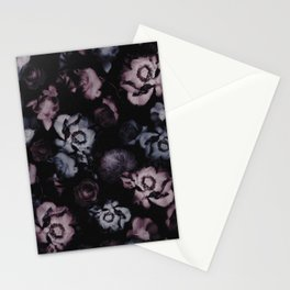 Moody Dark Floral - purple blue roses and peonies on black Stationery Cards