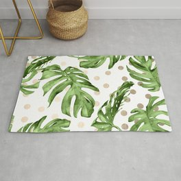 Simply Tropical White Gold Sands Dots and Palm Leaves Rug