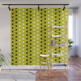 Geometric Pattern 240 (mustard wavy lines) Wall Mural