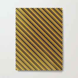 Amber Orange and Black Diagonal LTR Var Size Stripes Metal Print