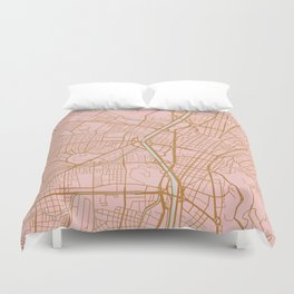 Pink and gold Medellin map, Colombia Duvet Cover