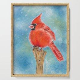 Red Cardinal Pastel Art Serving Tray