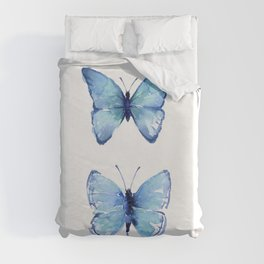 Two Blue Butterflies Watercolor Duvet Cover