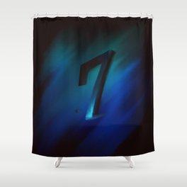 Number seven in Blue, Black, Design Shower Curtain