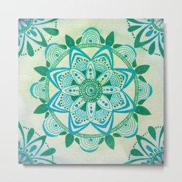 Simpe Blue/Green Mandala Metal Print