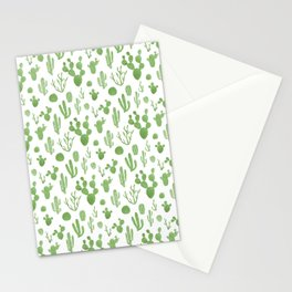 Green cacti on white Stationery Cards