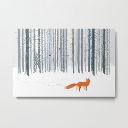 Fox in the white snow winter forest illustration Metal Print
