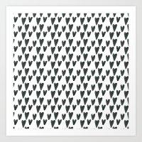 Watercolour Hearts Pattern Art Print