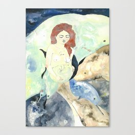 Siren and Narwhale Canvas Print