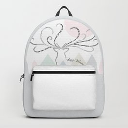 Abstrac Typographic Reindeer in The Mountains Backpack