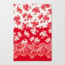 small bouquets in bright red with border Canvas Print