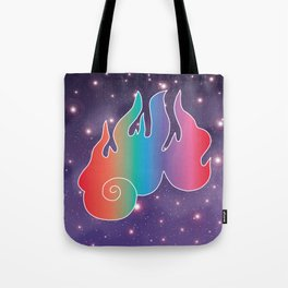 Rainbow Flame of God's Wrath in Universe Tote Bag
