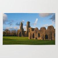 downton abbey Area & Throw Rugs featuring Neath Abbey by Julie Hoddinott