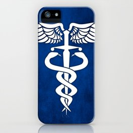 Caduceus medical symbol with two snakes sword and wings iPhone Case