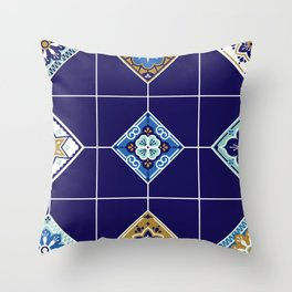 Talavera Mexican Tile – Navy & Bronze Palette Throw Pillow