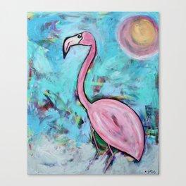 Flamingo at Sunset Canvas Print