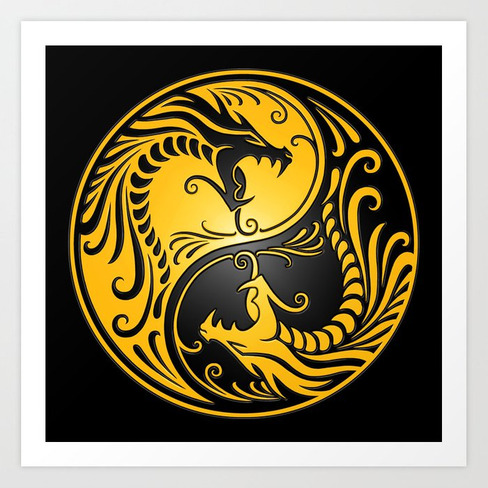 Yellow And Black Yin Yang Dragons Art Print